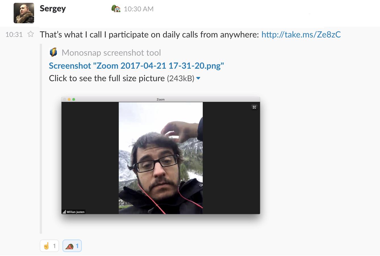 """Uma foto minha com um amigo dizendo """"That's what I call I participate on daily calls from anywhere"""""""